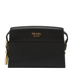 PRADA/普拉达 Esplanade金属字母品牌徽标拼色十字纹小牛皮女士单肩包 1BH043图片