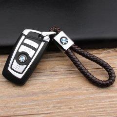 pinganzhe 宝马专用汽车新款带车标钥匙扣 手编织真牛皮钥匙链 钥匙圈锁匙环 男士女士 创意 汽车用品图片
