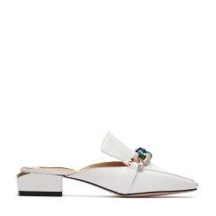 BENATIVE/本那舒适大气皱漆皮穆勒拖鞋 纯色女士凉拖BN01812034图片