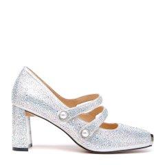 BENATIVE/本那2018春夏新品性感时尚玛丽珍鞋女士跟鞋 金属方头粗跟高跟鞋浅口单鞋图片