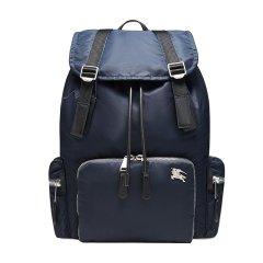 BURBERRY/博柏利 双肩包 男女同款大号黑色骑士LOGO织物/配皮时尚简约背包双肩包深蓝色图片