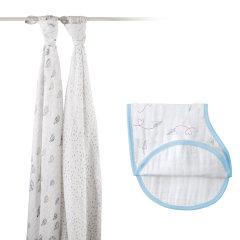 aden+anais美国品牌宝宝抱毯盖毯婴儿多功能襁褓包巾礼盒套装 2只装包巾+1条护肩口水巾图片