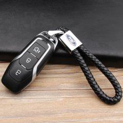 pinganzhe 福特专用汽车新款带车标钥匙扣 手编织真牛皮钥匙链 钥匙圈锁匙环 男士女士 创意 汽车用品图片