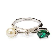 【DesignerJewelry】【O.YANG/O.YANG】水晶珍珠旋转戒指女欧美时尚个性气质简约开口指环图片