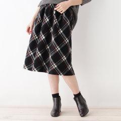 grove/grove 女士时尚温暖里长绒格纹半身裙76873029图片