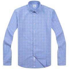 CAMICISSIMA/恺米切时尚商务免烫男士长袖衬衫18秋冬海军蓝纯棉格子衬衣图片