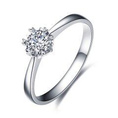 ZOCAI/佐卡伊 PT950铂金六爪钻戒女钻石结婚求婚戒指白金雪花款图片