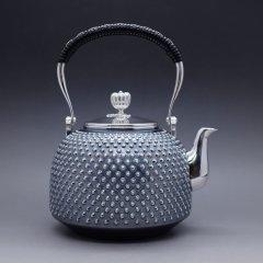 竹银堂 经典款式纯银釜型银壶日式釜型容量1升重645克 槌纹亚光重约518g图片
