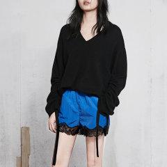 MO&Co./摩安珂女士针织衫/毛衣2018春季新品时尚抽绳套头V领长袖羊毛衫MA181SWT305图片