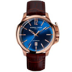 【意大利品牌】乔治菲登GF1919手表全自动机械日历大表盘简约皮带男士腕表图片