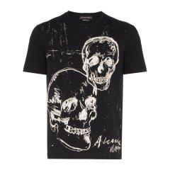Alexander McQueen/亚历山大麦昆 20春夏 男装 服装 男士棉质时尚骷髅头印花 男士短袖T恤图片
