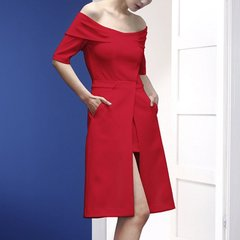 YE'SbyYESIR/YE'SbyYESIR原创设计 白红黑色 一字裸肩A摆高腰修身显瘦连衣裙 女士连衣裙图片