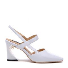 【Designer Shoes】BENATIVE/本那2018春夏新品纯色方头女鞋 通勤优雅嵌珠异形高跟凉鞋图片