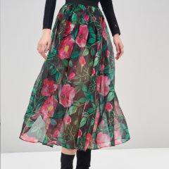 ERDOS/鄂尔多斯18春夏刘雯同款轻薄英伦玫瑰真丝纱感女士半身裙图片