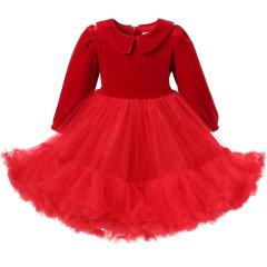 Hanakimi英国品牌秋冬新款丝绒红色儿童礼服蛋糕裙兔兔裙周岁宝宝生日礼物CFP1702图片
