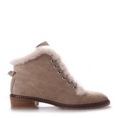 Neiliansheng/内联升 女士靴子时尚牛皮系带毛口靴 4715C图片