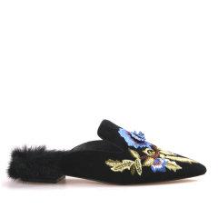 Neiliansheng/内联升女式羊猄皮貂毛矮跟绣花拖鞋4832C图片