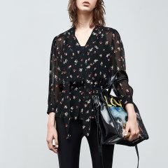 MO&Co./摩安珂女士短袖衬衫两件套衬衫收腰碎花V领上衣图片