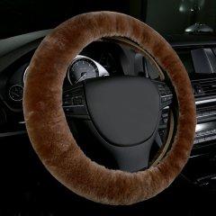 pinganzhe  新款澳洲进口羊毛方向盘套 长毛款汽车羊毛把套 汽车用品 多色可选灰色.图片