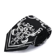 VERSACE/范思哲男士黑色+白色100%桑蚕丝领带图片