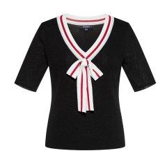 CREMIEUX/柯兰美 夏季新款V领短袖T恤修身海军风五分袖女士针织衫/毛衣HCSZ31068CL图片