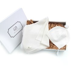 NUcollection纯色婴幼儿羊绒帽子围巾套装礼盒图片