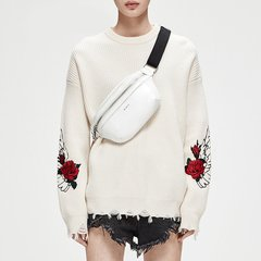 MO&Co./摩安珂女士针织衫/毛衣MOCO2018秋季新品刺绣纯羊毛套头毛衣MT183SWT302图片