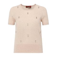 【17春夏】MaxMara/麦丝玛拉 钻钉装饰竖纹修身真丝羊毛女士短袖T恤  REAME63610777图片