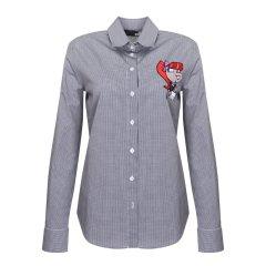 Love Moschino/Love Moschino   刺绣女孩格子女士长袖衬衫图片