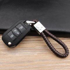 pinganzhe 标志专用 汽车新款带车标钥匙扣 手编织真牛皮钥匙链 钥匙圈锁匙环 男士女士 创意 汽车用品图片