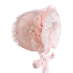 Hanakimi 英国手工定制宫廷软纱蕾丝女童帽子婴儿春秋帽公主帽子KM0561507图片