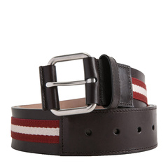 BALLY/巴利 男士织物配皮针扣腰带 TIANIS-40/981 深棕色图片