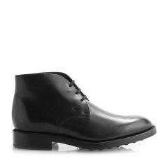 Tod's/托德斯 男士靴子 黑色真皮logo压印系带男士裸靴图片