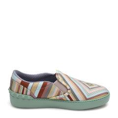 Valentino华伦天奴绿色帆布材质拼色条纹元素女士平跟鞋,KW2S0782CNE K13 WOMEN SHOES 37图片