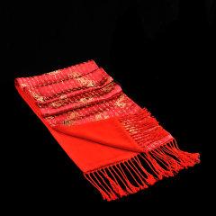 Ningsilk/云帛 云锦围巾 女士红色 手工刺绣  甲骨龙纹图案图片