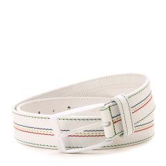 HUGO BOSS/雨果波士腰带-男士绿牌白色彩线皮带图片