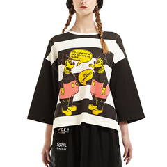 D-mop Loveis/Loveis 女士潮流T恤 条纹图案 春夏 女士T恤图片