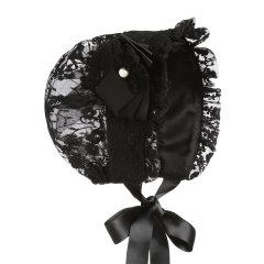 Hanakimi英国儿童帽白色女童公主帽子新款潮童婴儿宝宝蕾丝遮阳帽KM0111507图片