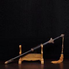 Zhou Shi/周氏 龙泉剑 非物质文化遗产 百炼钢齐福剑 非洲黑檀木 手工锻打剑身图片