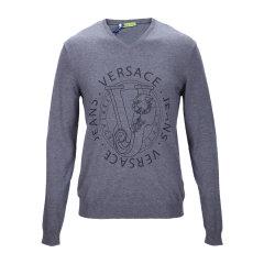 品牌:VERSACE/范思哲牛仔灰色混合材质V领印花男针织衫,B5GMA82256648,800,XL图片