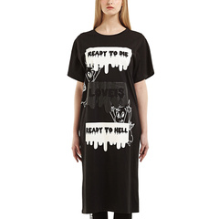 D-mop Loveis/Loveis 女士春夏休闲连衣裙 长款针织上衣 字母图案图片