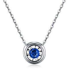 DEMONE/黛慕妮 18K金项链 红/蓝宝石钻石套链 两面可戴锁骨链图片