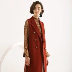TATU/她图新款双面羊绒大衣女 韩版中长款毛呢呢子背心外套潮女士大衣图片