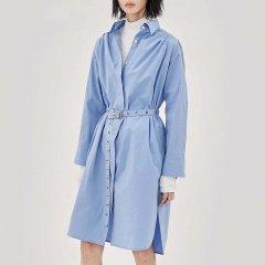 MO&Co./摩安珂女士连衣裙MOCO2018秋季新品中长款收腰纯色衬衫连衣裙MA183DRS101图片