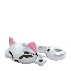 【Designer Jewelry】angs/谙诗 女士 可爱猫咪925银情侣对戒指环图片