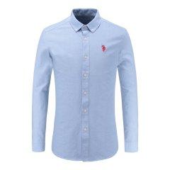 U.S.POLO.ASSN/U.S.POLO.ASSN 男士秋季新品纽扣翻领商务白领上衣男士长袖衬衫图片