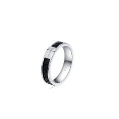 brosway/宝思薇意大利设计SHADOW系列男士配饰个性手工编织牛皮装饰钛钢戒指图片