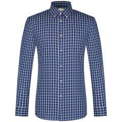 CAMICISSIMA/恺米切商务免烫男士长袖衬衫 韩版修身格子蓝色衬衣图片