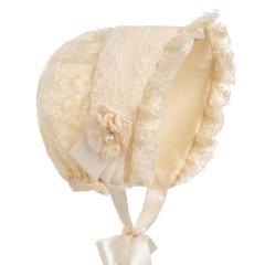 Hanakimi/Hanakimi 英国女童公主帽子新款潮童婴儿宝宝蕾丝遮阳帽棉里衬版KM011图片