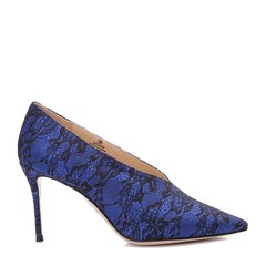 BENATIVE/本那秋冬新品 拼色蕾丝细跟V领鞋 尖头高跟鞋BN01735116 蓝色 38图片